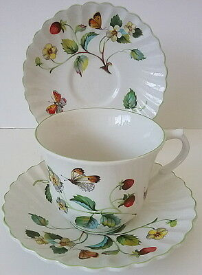 Strawberry James Kent Old Foley English Staffordshire China Cup & 2 Saucers