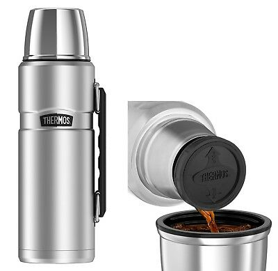 Thermos 40 oz Vacuum Insulated Stainless Steel King Beverage Bottle Bar Silver
