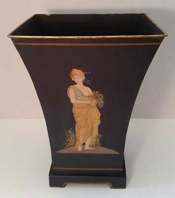 "Greek Woman 12"" Blue Metal Painted Container, Vase, Waste Basket w/Gold Trim"