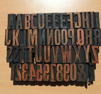 "Complete alphabet of  letterpress wooden type. 1 and 11/16"" high."
