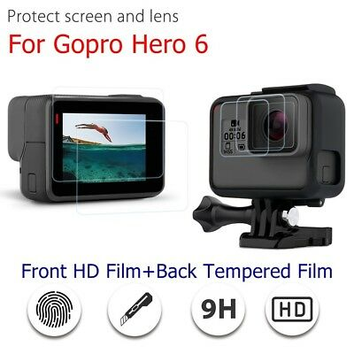 For Gopro Hero 6 Slim Front HD Film+Back Tempered Film LCD Screen Lens Protector