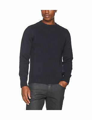 Schott NYC Men's Milford 4 Crew Neck Knitted Long Sleeve Jumper Blue (Navy)