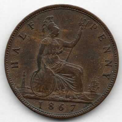 Great Britain 1/2 Penny 1867 (Half Penny) Coin