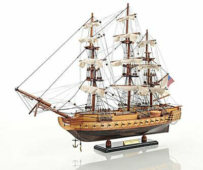"""USS Constitution Old Ironsides Tall Ship 22.5"""" Wood Model Sailboat Assembled"""