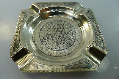Antique Niello & Engraved Solid Silver Ashtray