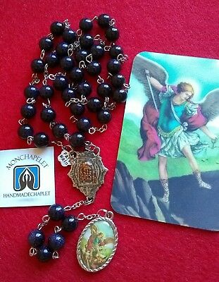 Chaplet  St Michael with gemstones the Holy  Face with card prayers
