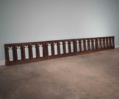*29 Feet of Antique Neogothic Pine/Fir Wood Railing/Wainscoting Gothic Church