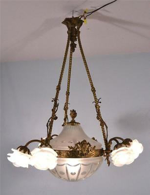 Antique French Louis XVI Gilt Bronze and Cut Glass Chandelier/Hanging Lamp