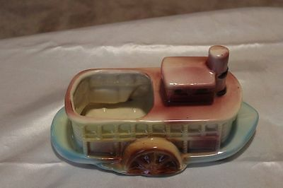 Vintage Steamboat Paddle Wheel Planter American Bisque 1950s