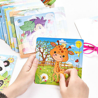 Diy Development Baby Toddler Intelligence Animal Wooden Brick Puzzle Toy Classic