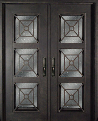 Modern Style Glass Forged Iron Entry Doors - Prehung NEW Front Double Doors