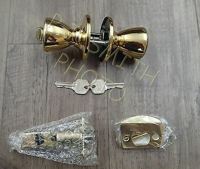 A lot of 3 New Entry Locks Keyed alike Polished Brass,Adjustable Backset