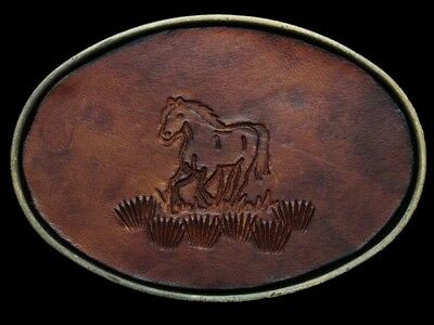 JK21102 VINTAGE 1970s **GALLOPING HORSE** STAMPED LEATHER ON SOLID BRASS BUCKLE