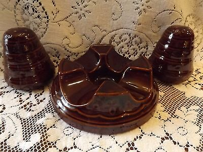RARE Vintage MARCREST Daisy Dot Bean Pot Base  Beehive Salt Pepper BROWN