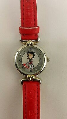 Valdawn 5102 Women's Betty Boop Watch Red Band New Battery Fast Free Shipping