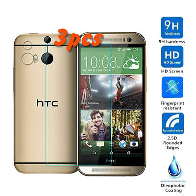 3Pcs Ultra-Thin Premium Tempered Glass Screen Protector for HTC One M8 HD Clear