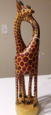 "Wooden Hand-carved African Giraffe Statue    Decor Unique Art Sculpture 8"" Tall"