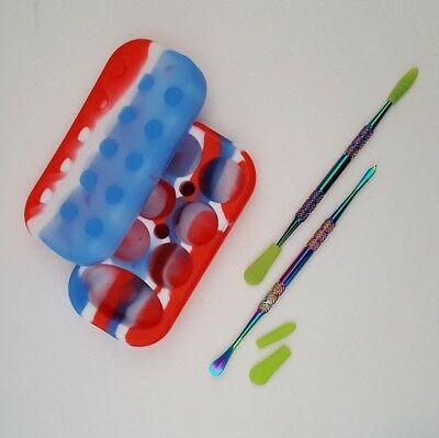 2x Silicone tipped dab tools with a silicone 7 chamber nonstick container
