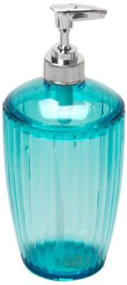 Carnation Home Fashions Ribbed Acrylic Lotion Pump, Cerulean Blue