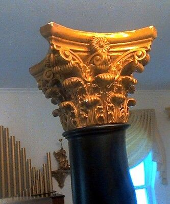 Column /Pedesta/Pillar:l Corinthian Gold Gilt Capital, Base, and Ebony Shaft