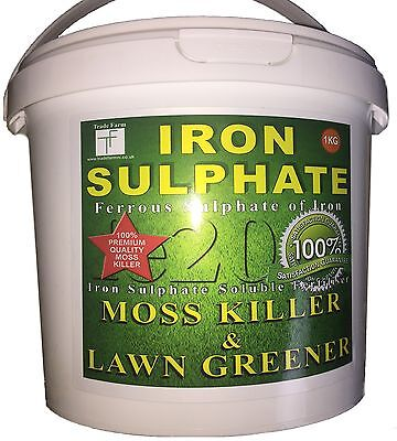 LAWN FERTILISER & MOSS KILLER 1KG TUB - Iron Sulphate Lawn Feed 200-1000 Sq mtr