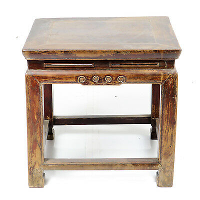 Antique Chinese Small Elm Wood Stool Bench, Plant Stand 19 x 19 x 18 inch Tall