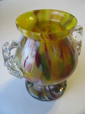 Vintage Art Deco Czechoslovakia End of Day Multicolored Small Glass Vase