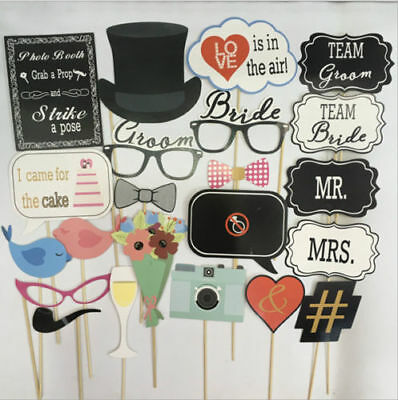 22pcs Wedding Party Photo Booth Props Bride Groom Mr Mrs Hens Do Night Selfie