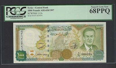 Syria Syrie 1000 Pounds 1997/AH1418 P111b Uncirculated Grade 68