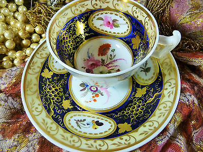 ANTIQUE RARE CHARLES BOURNE? A TEA CUP AND SAUCER LONDON SHAPE  LUSH  GILT c1825
