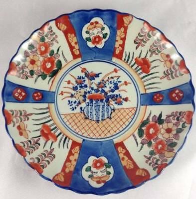 Antique 19th Century Japanese Imari Porcelain Large Scalloped Charger Plate