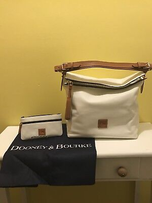 292f9526bf Dooney   Bourke Large Smooth Leather McKenzie Hobo Bag w  Leather Pouch  White