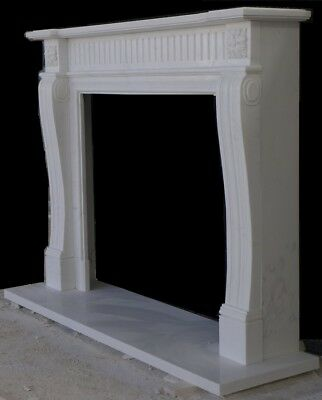"""English Mantle Design – Hand Carved WHITE marble Mantel – 63"""" wide"""