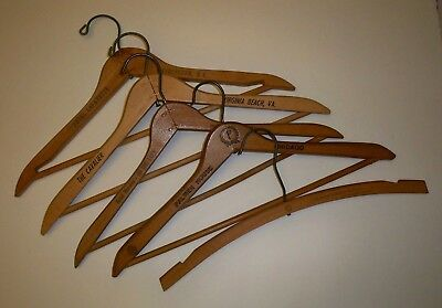 Lot of 5 Vintage Hotel Wood Advertising Clothes Hangers