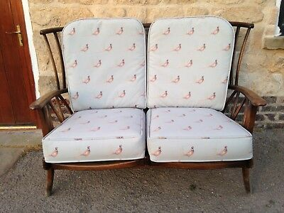 Antique Vintage Ercol 2 Seater chair Sofa newly Upholstered in Pheasant Print