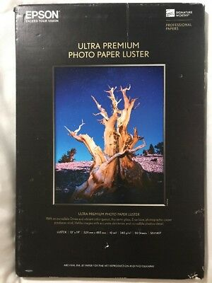 "Epson S041407 Ultra Premium Photo Paper Luster 13""x19"" 50 Sheets 10mil Fine Art"
