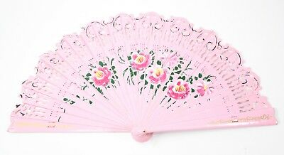 Orange Double Sided Wooden Spanish Floral Print Hand Folding Fan Party Gift