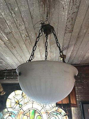 Antique Frosted Milk Glass Inverted Bowl Chandelier Embossed Ribbon Pattern