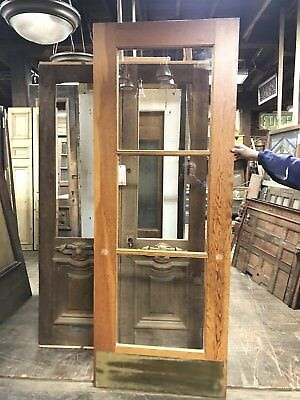 "Pine Entry Door 3 Glass Panel 35.75"" X 95"" X 1.75"" Church Door  4 -39"" left"