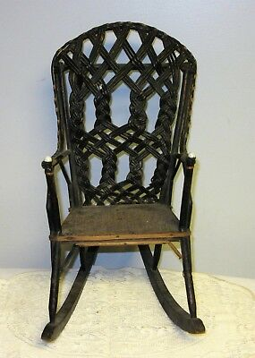 Victorian doll chair braided wicker porcelain nail heads