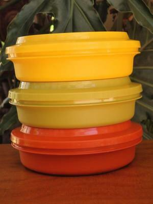 70s VINTAGE TUPPERWARE Round STACKABLE Lunch SEAL & SERVE Storage CONTAINERS