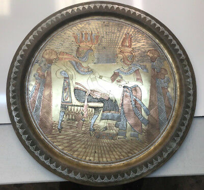 "Large 27"" Vintage Antique Hand Engraved Copper and Brass Egyptian Tray"