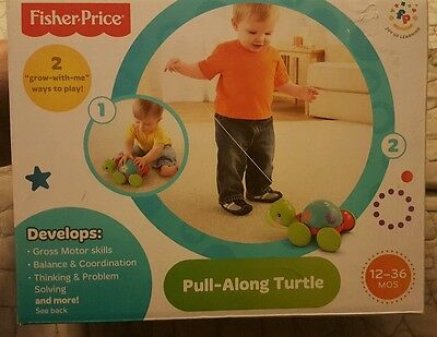 """Fisher-Price Pull-Along Turtle 2 """"grow with me"""" ways to play - Ages 12-36 months"""