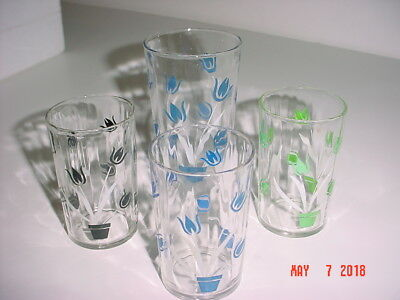 "Vintage Lot 4 Swanky Swigs W Tulips 3 1/2"" & 4 1/2"" Juice Glasses Tumblers"
