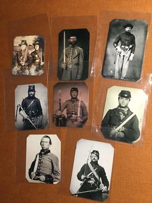 Lot of 8 Civil War Soldiers with Swords Historical Museum Quality Reproductions