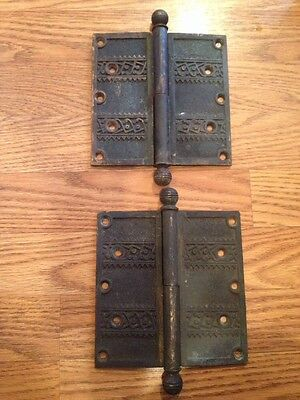 "Set Of 2 Antique Bronze Arts Craft Deco Eastlake Victorian 6"" Fancy Door Hinges"