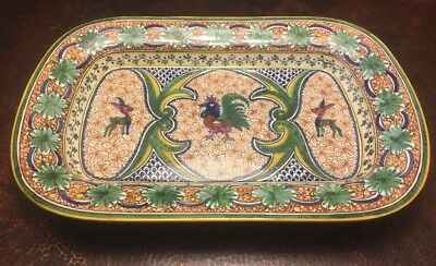 """Hand Painted Large 23"""" Platter Portugal Nazari For Williams Sonoma Rooster"""