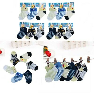 Lot 6 12 Pairs Multi Color Striped Baby Boy NewBorn Baby Soft Socks 0-12 Month