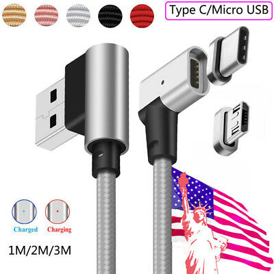 1-3M 90° Right Angle Magnetic USB Charger Cable Cord For Samsung Galaxy S7 S8 S9