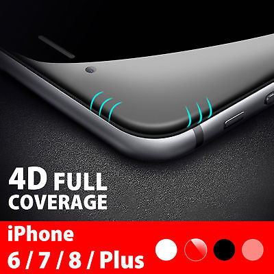 For Apple iPhone X 6s 7 8 Plus - 4D Full Cover Tempered Glass Screen Protector